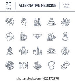 Alternative medicine line icons. Naturopathy, traditional treatment, homeopathy, osteopathy, herbal fish and leech therapy. Thin linear signs for health care center. color.