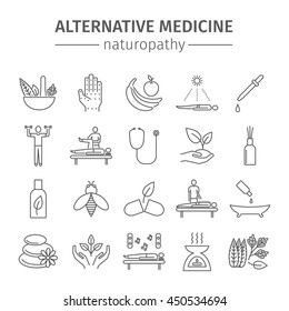 Alternative Medicine line icons set. Naturopathy sign.  Vector illustration.