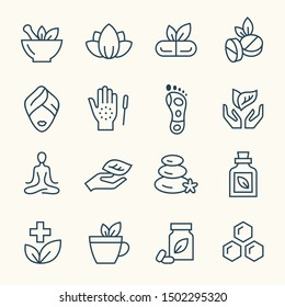 Alternative medicine line vector icon set