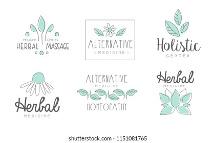 Alternative medicine logo design set, herbal massage, holistic center, homeopathy, herbal medicine hand drawn vector Illustrations on a white background