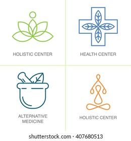 Alternative Medicine logos. Modern linear style. For holistic center, naturopathic medicine, homeopathy.