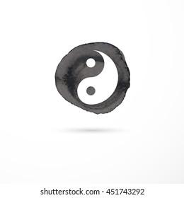Alternative medicine and martial, yin yang concept - vector watercolor icon