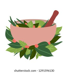 Alternative medicine, naturopathy logo design. Mortar and pestle, leaves and berries isolated on white background. Grinding bowl with herbs vector illustration