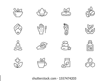 Alternative medicine thin line vector icons. Editable stroke.