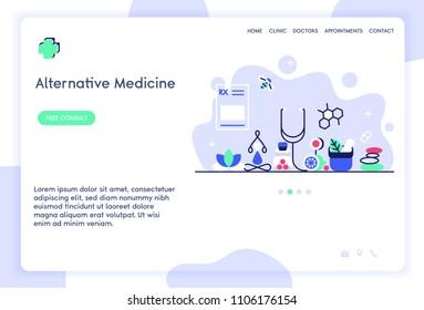 Alternative medicine website template design. Vector illustration concept of healthcare web page.