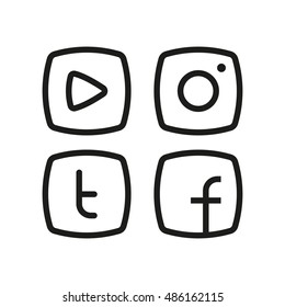 Alternative social media icon in line flat style. Video player, hipster camera, letter t and f in frame