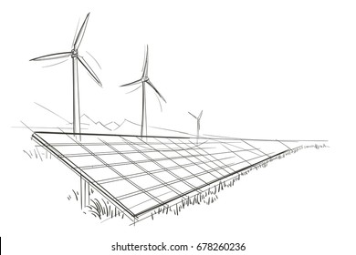 Alternative sources of energy hand drawn sketch. Vector.