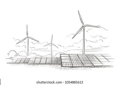 Alternative sources of energy (wind, solar) hand drawn sketch (2). Vector.