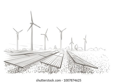 Alternative sources of energy(wind, solar) hand drawn sketch. Vector.