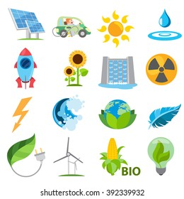 Alternative sources of power and eco Mining technology. Set logos in cartoon style.