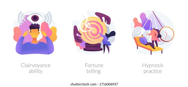 Alternative spiritual practices abstract concept vector illustration set. Clairvoyance ability, fortune telling, hypnosis practice, extrasensory ability, tarot reading services abstract metaphor.