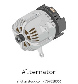 Alternator icon. Isometric illustration of alternator vector icon for web
