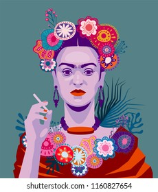 ALTEVEER, NETHERLANDS, AUGUST 21 2018: Vector Illustration of the famous painter Frida Kahlo, eps10, vector, illustrative editorial - stock vector