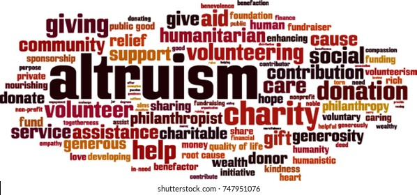 Altruism word cloud concept. Vector illustration