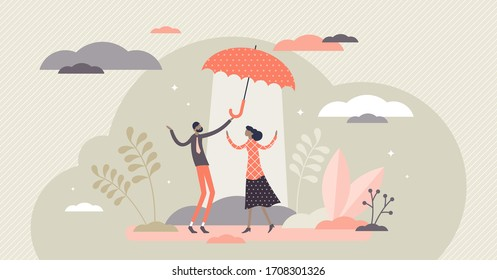 Altruistic vector illustration. Assistance support flat tiny persons concept. Altruism as society respect and community volunteering for common happiness. Contribute loyalty as kind gesture symbol.