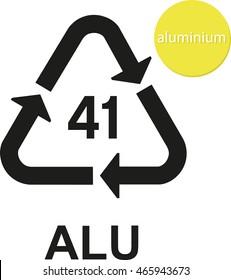 ALU aluminium recycling code