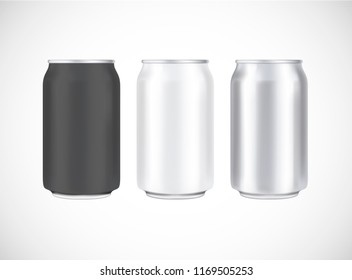 Aluminium beer pack. Metal, black and white can front view. Can vector visual 330 ml. For beer, lager, alcohol, soft drinks, soda advertising.