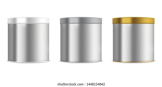 Aluminium can container on white background. Vector illustration mock up for food design