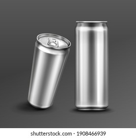 Aluminium can for soda or beer in front and perspective view. Vector realistic mockup of metal tin can for drink with ring pull on lid. 3d template of blank silver package for cold beverage