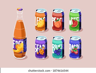 Aluminium cans with different fruit juice or lemonade. Glass bottle with fresh orange beverage. Vector flat illustration of metal tin cans with drinks from blueberry, lemon, watermelon and raspberry