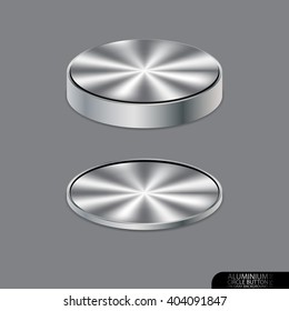 Aluminium circle button on gray background