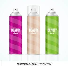 Aluminium Colorful Beauty Spray Can Set. Packaging Collection. Vector illustration of hairspray aerosol or deodorant pack design