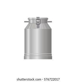 Aluminium flask container for milk, water. Vector illustration