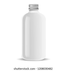 Aluminium lid Pharmacy bottle for medical liquid products, pills. White glass cosmetic bottle mockup for shampoo, soap, gel. Vector illustration.