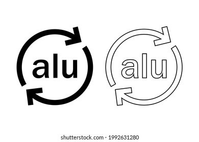 Aluminium recycling code .Alu icon.Vector recycle symbol, logo ,icon.Metals recycling codes. Black and white vector icons
