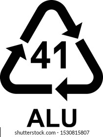 Aluminium recycling symbol ALU 41 . Vector