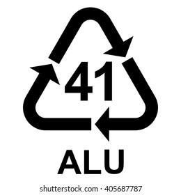 Aluminium recycling symbol ALU 41 , metals recycling code ALU 41 , vector illustration