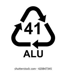 Aluminium recycling symbol ALU 41 . Vector illustration