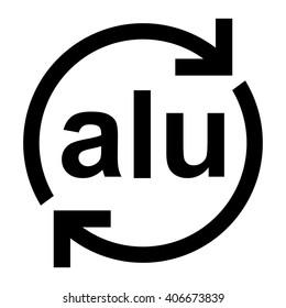 Aluminium recycling symbol ALU , metals recycling code ALU , vector illustration