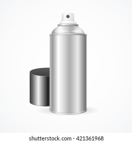 Aluminium Spray Can with Cap Template Blank.  Vector illustration