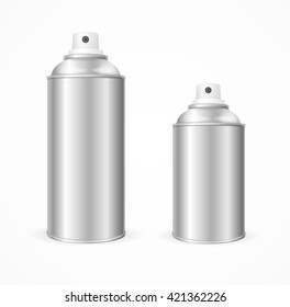 Aluminium Spray Can Template Blank. Front View. Vector illustration