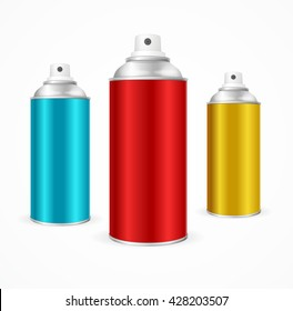 Aluminium Spray Can Template Blank.  Packaging collection. Vector illustration