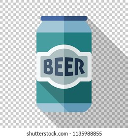 Aluminum beer can icon in flat style with long shadow on transparent background