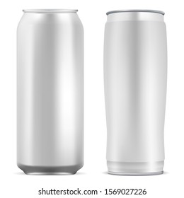 Aluminum can blank. Round soda mockup template. Realistic 3d metal beer package. Cold coffee energy drink tin. Aluminium bottle