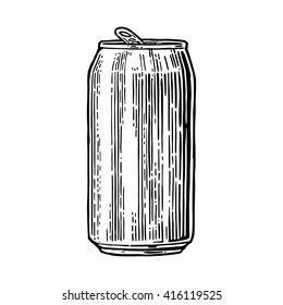 Aluminum can. Hand drawn vector vintage engraving illustration isolated on on white background.  For web, poster, invitation to beer party.