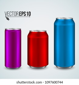 Aluminum can isolated on light background. Realistic metallic can  for beer, soda, lemonade, juice, energy drink. Vector template for your design.