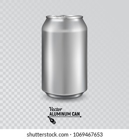 Aluminum can isolated on transparent background. Realistic metallic can  for beer, soda, lemonade, juice, energy drink. Vector template for your design.