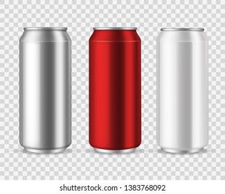 Aluminum cans. Blank metal can drinks, beverage water soda beer lemonade energy drink, silver empty jar mockup vector set