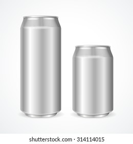 Aluminum Cans Empty 500 and 330 ml. Vector illustration