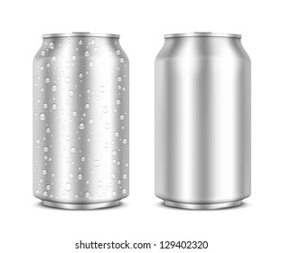 Aluminum Cans isolated on white clean and with drops. Vector Illustration