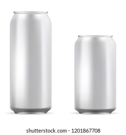 Aluminum cans set mockup illustration. Realistic metallic can for beer, soda, lemonade, juice, energy drink. EPS10 Vector template for your design.