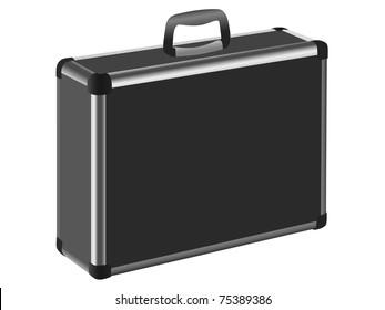 Aluminum case on a white background