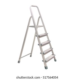aluminum five step folding ladder with standing platform stool and hand bar isolated on white background. vector illustration