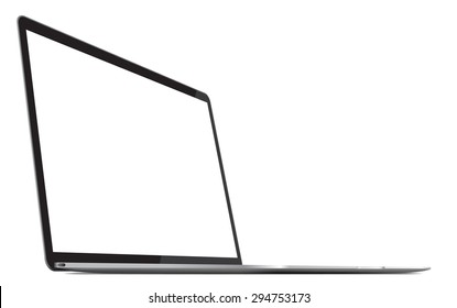 Aluminum laptop pro with blank white screen in rotated perspective position - isolated on white, eps 10 vector illustration.