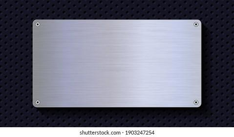Aluminum metal plate. Realistic shiny metal banner. Black metal texture steel background. 3D realistic vector illustration.
