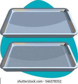 Aluminum perforated bun sheet pan. Tool for baking pastry, cookies, cakes and other food in oven. Isolated. On aquamarine background.